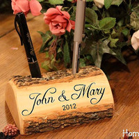 Guest Book Pen Holder Custom Names Initials Words by HomenStead