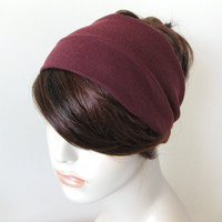 Maroon Purple Turban Wrap Headband, Dreadband, Yoga Head Wrap, Turband, Back to School Hair Accessories, Gifts for Her