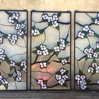 "Stained Glass 3 Hanging Panel-Set / ""Dogwood Branches"" (P-23)"