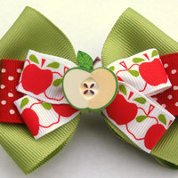 Green apple hair bow- back to school accessories- red and green hair clip
