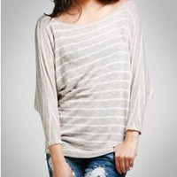 Dolman Stripe Cozy Sweater - Long Sleeves - TOPS A'GACI