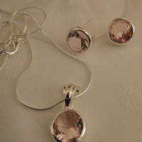 Pink Topaz Silver Gems Earring &amp; Necklace Set | asterling - Jewelry on ArtFire