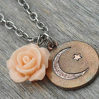 Moon Necklace, Crescent Moon Necklace, Half Moon Necklace, Star Necklace, Moon and Star, Moon Jewelry, Rose Necklace, Peach Rose, Copper,