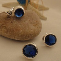 Impressive Sapphire Quartz Gemstone Earrings &amp; Necklace Set | asterling - Jewelry on ArtFire
