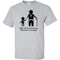 Only Best Dads Get Promoted to Grandpa T-Shirt Tee Shirt T Shirt Mens Ladies Womens Funny Modern Christmas Gift Baby NewBorn  B-129