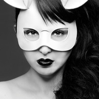 Bunny leather mask in white