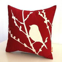 Red Bird on Cherry Blossom  Mini 105 Inches Square Pillow by joom