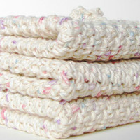 Crocheted Cotton Washcloth - Set Of 3 , Off White Speckeled, Spa, 100% Cotton