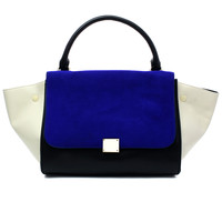 Suede Color Block Wing Tote Bag