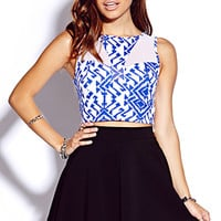Ikat & Mesh Crop Top | FOREVER 21 - 2000065935