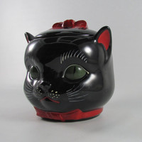 Vintage 50's Shafford Black Cat Cookie Jar