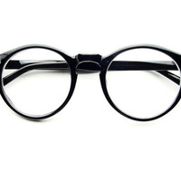 Retro Clear Lens Round Keyhole Glasses in Black  R351 - Default Title / Medium / Black