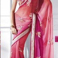 Pink and Orange Ombre sari | KurtiTown - Clothing on ArtFire