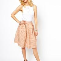ASOS | ASOS Midi Skirt in Cutwork with Ribbon Trim at ASOS