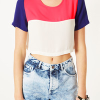 Crop Colourblock Tee - Tops - Clothing - Topshop USA
