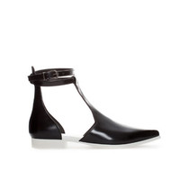 LEATHER CUT - OUT FLATS WITH ANKLE STRAP - Shoes - TRF | ZARA United States