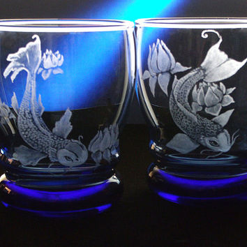 Koi tumbler cobalt blue glass fish from for Koi fish gifts