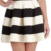 Stripe It Lucky Skirt in Black  White