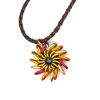 Chainmaille Pendant Hot Colors Whirlybird Style, Leather Cord Necklace