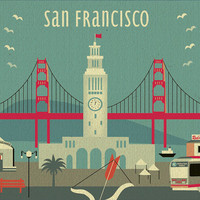 Modern San Francisco Ferry Building Skyline - Poster Print  Wall Art for Home, Office, Child's Nursery - Top Seller - style-E8-O-SF13