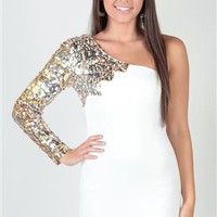 two tone sequin, one shoulder flame, body con