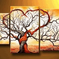 Love Tree Modern Art 100% Hand Painted Oil Painting on Canvas Wall Art Deco Home Decoration (Unstretch No Frame) Ab01:Amazon:Home & Kitchen