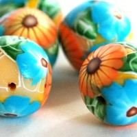 Handmade Polymer Clay Beads Teal and Orange Flowers on Yellow Bead
