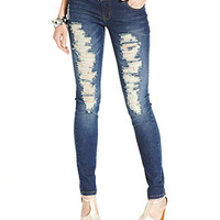 Celebrity Pink Jeans Juniors Jeans, Skinny Leg, Destroyed Dark Wash - Juniors Back to School - Macy's