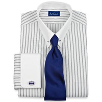 Paul Fredrick Trim Fit White Eyelet Collar \ French Cuff Dress Shirt