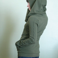 hooded top with pockets Olive Green by joclothing on Etsy