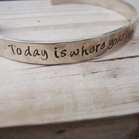 The rest is still unwritten hand stamped silver cuff lyrics