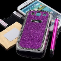 Pandamimi Dexule NEWEST 3rd Rose Pink Bling Glitter Diamond Crystal Chrome Hard Case Cover for Samsung Galaxy S III S3 + Screen Protector + Stylus (AT&T, T-Mobile, Sprint, Verizon) - Silver:Amazon:Cell Phones & Accessories