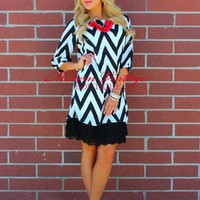 Black and White Dreamy Chevron 3/4 Sleeve Dress - Modern Vintage Boutique