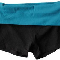 Zenana Contrast Waist Fold Over Yoga Shorts