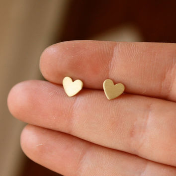 Tiny Brass Heart Studs with Sterling by RachelPfefferDesigns