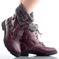 Purple Faux Fur Buckle Lace Up Military Combat Winter Women Flat Ankle Boots 5.5