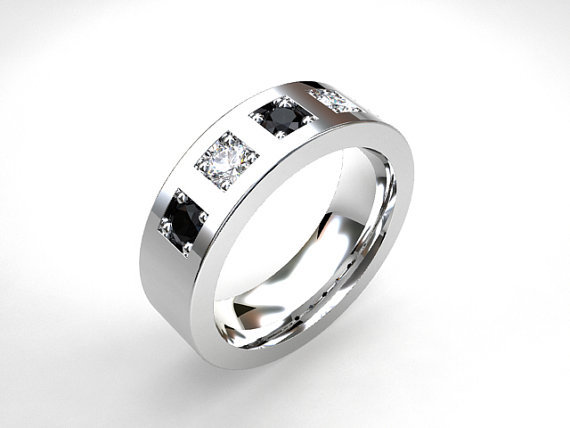 White And Black Diamond Wedding Band From TorkkeliJewellery