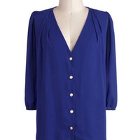 Moxie Lady Top in Royal Blue | Mod Retro Vintage Short Sleeve Shirts | ModCloth.com