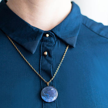 Navy blue galaxy pendant necklace, space jewelry, astronomy necklace