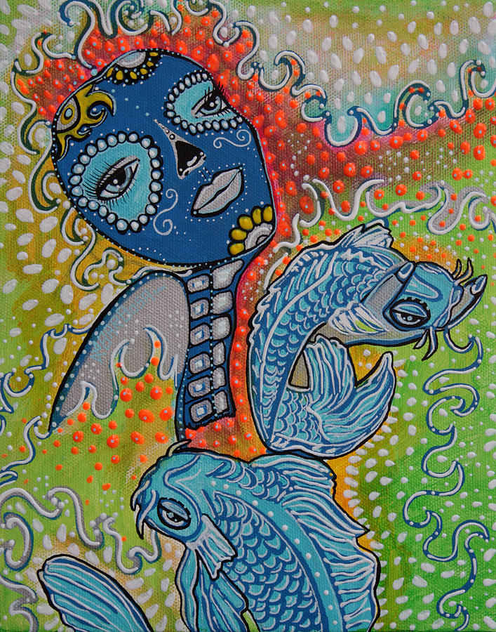 Koi fish sugar skull painting by laura from fine art america for Koi fish paintings prints