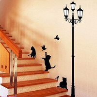 Black Cat and Lamp Wall Stickers...Follow me for more:)