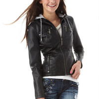 Sherpa Lined Faux Leather Jacket