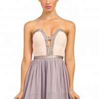 Light Pink & Grey Embellished Sweetheart Bandeau Prom Dress