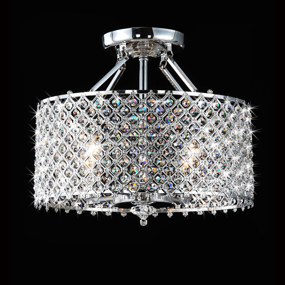 Chrome crystal 4 light round ceiling from overstock - Can light chandelier ...