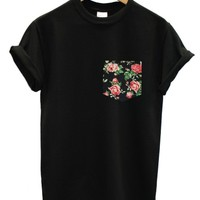 Vintage rose print pocket black t shirt