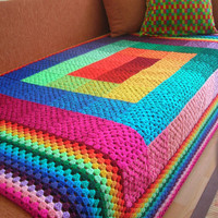 Full Spectrum Granny Square Crochet Blanket by babukatorium