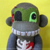 Sock Monkey - Drefus  - Zombie Monkey - Small | REBELalaMODE - Dolls & Miniatures on ArtFire