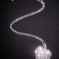 Large RHINESTONE HEART Puffy Pendant Necklace Long Silvertone Chain BLING 1.75""