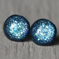 Fake Plugs : Teal Blue Glitter, Glass Stud Earrings, Sterling Silver Posts, 12mm, Galaxy Earrings, ArtisanTree