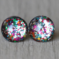 Fake Plugs : Multi Color Confetti Glitter, Rainbow, Happy Birthday, Glass Stud Earrings, Sterling Silver Posts, 12mm, Galaxy Earrings
